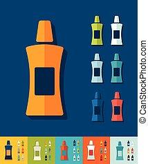 Flat design flacon - flacon icon in flat design with long...