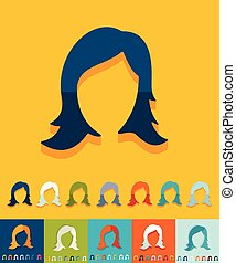 Flat design. hair styling - hair styling icon in flat design...