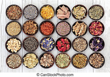 Herbal Medicine - Large flower and herb selection used in...