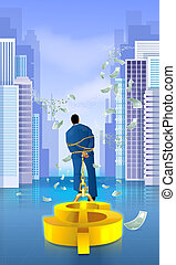 Businessman Dragging Dollar Sign - Illustration of a...