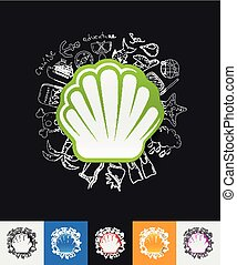 shell paper sticker with hand drawn elements - hand drawn...