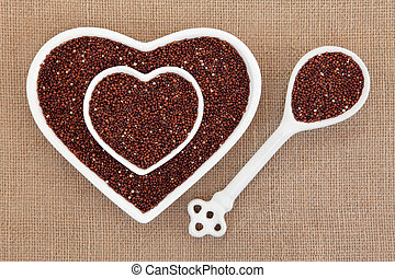 Quinoa Super Food - Quinoa grain super food in heart shaped...
