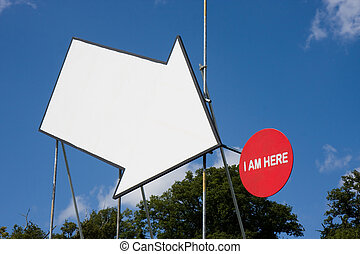 Arrow pointing to sign - Large white arrow pointing to a...