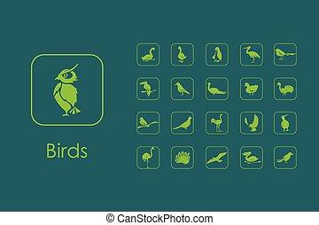 ensemble, de, Oiseaux, simple, icônes,