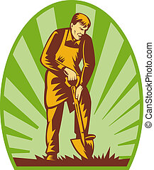 Gardener or farmer digging with shovel and sunburst in the background.