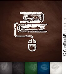 e-books icon. Hand drawn vector illustration. Chalkboard...