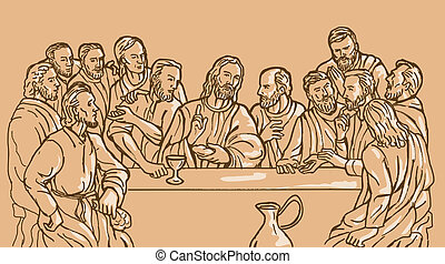 last supper of Jesus Christ the savior and his discplles -...