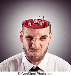 Crazy mind labyrinth - Businessman with the brain as a...