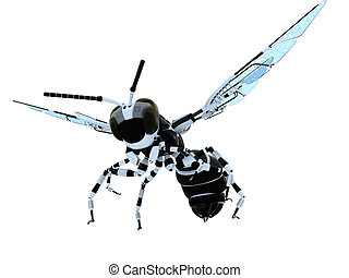 Robotic Wasp - 3d robot wasp illustration