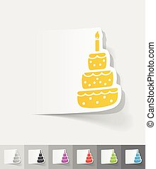 realistic design element cake - cake paper sticker with...