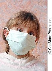 child with pretection flu mask