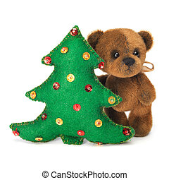 Christmas tree decoration with cute classic teddy bear....