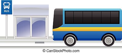 Bus stop vector icon - Vector illustraton of a bus stop with...