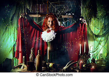 alchemy incantation - Attractive witch in the wizarding...