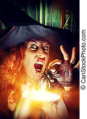 incantation of horror - Attractive witch in the wizarding...