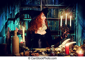 mystery bubbling - Attractive witch in the wizarding lair....
