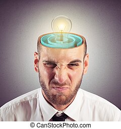 Resolution of mind labyrinth - Businessman with the brain as...