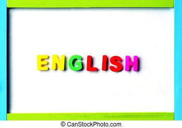 The Word English on a whiteboard. Languge concept learning...