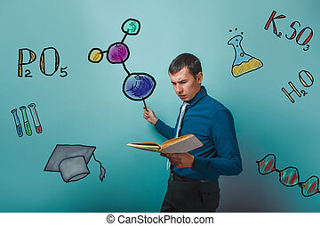 businessman chemistry man student he holds the book shows...