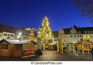 Christmas market on Marktplatz Weimar, Thuringia, Germany