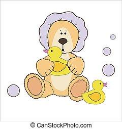 Teddy bear bath time in bath hat and rubber duck