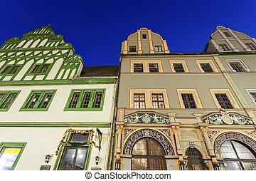 Marktplatz architecture in Weimar at sunrise. Weimar,...