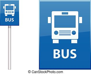 Bus Stop sign vector icon