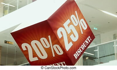Discount cube, in trade center - Advertising cubes in a...
