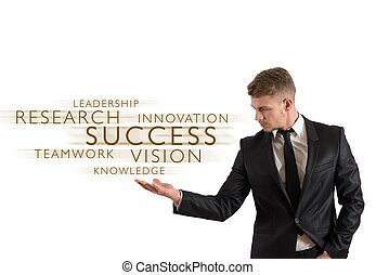 Goals for Success - Successful businessman with words over...