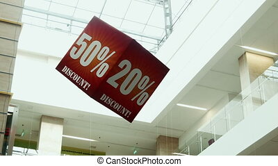 Big sale sign on the cube - Advertising cubes in a shopping...