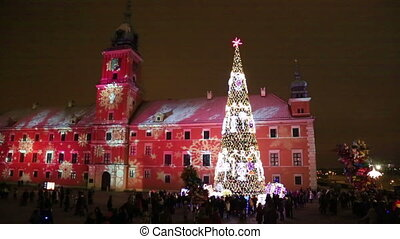 Christmas tree at Castle Square in Warsaw, Poland - Crowd...