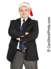 Cheerful man wearing a Santas - Cheerful businessman wearing...