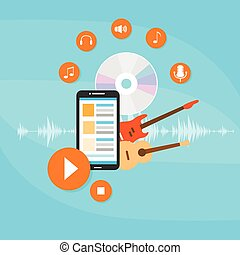 Music Banner Color Icon Flat Set Vector Illustration