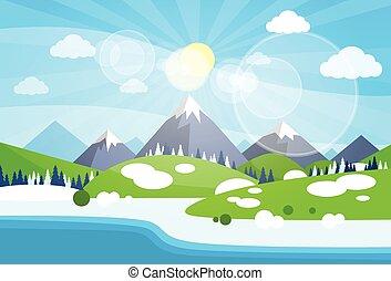 Winter Mountain River Landscape Background