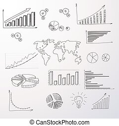 Graph Set Finance Diagram Infographic Hand Draw Icon Sketch Financial