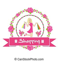 Shopping Woman With Bags Wear Pink Dress Rose