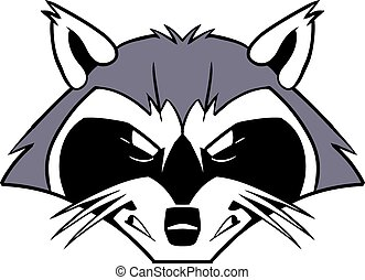 Rough Mean Cartoon Raccoon Mascot - Vector cartoon clip art...