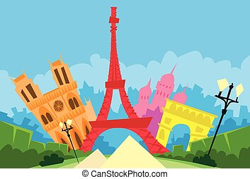 Paris France Abstract City Silhouette Flat Colorful