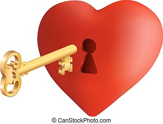 Heart with key - Illustration of heart with keyhole and...