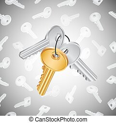 Bunch of keys - Illustration of house key bunch in golden...