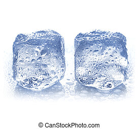ice cubes with water drops close-up isolated on a white background