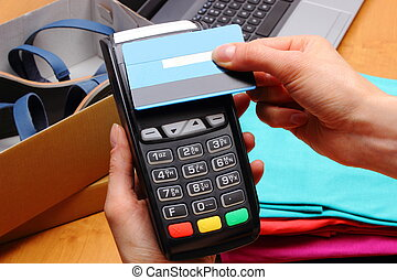 Use payment terminal and credit card with NFC technology for...