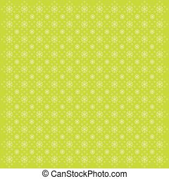 Green background with snowflakes, vector illustration