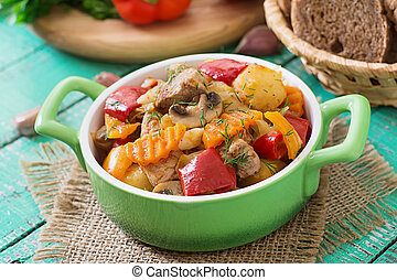 Stewed meat with vegetables.