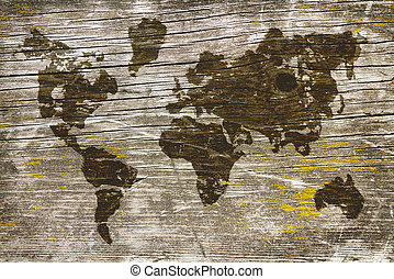 Image of a world map on the blackboard