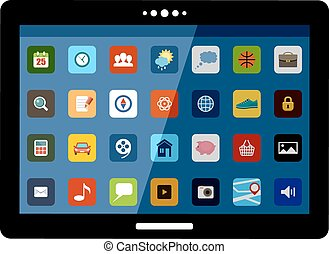 Tablet with application icons