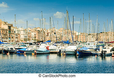 Yachts in Malta - The big harbor of the city Valetta, Malta...