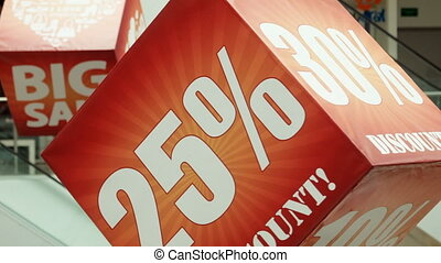 Big sale sign on the advertizing cube - Advertising cubes in...