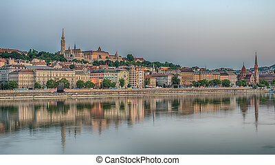 Budapest,Hungary, in the sunrise - Budapest,Hungary, in the...