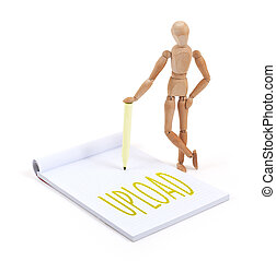 Wooden mannequin writing - Upload - Wooden mannequin writing...